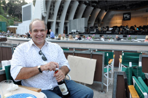 Opening wine at the Hollywood Bowl